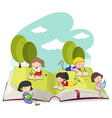 Kids reading books in the park vector image vector image