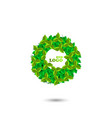 leaves in the circle eco logo white background vector image