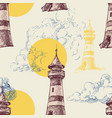 lighthouse sun and sky seaside holiday vector image vector image