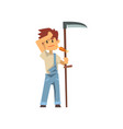 male farmer scythe for grass farm worker with vector image vector image
