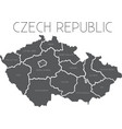 Map of Czech Republic with administrative regions vector image vector image
