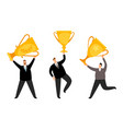 men winners businessmen flat characters vector image