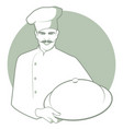 moustached chef with a kitchen hat carrying a vector image