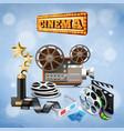 realistic cinema background vector image vector image