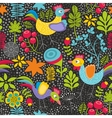Seamless pattern with plants and cocks vector image