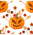 seamless pattern with pumpkins and biscuits vector image vector image