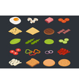 set of isometric icons Ingredients for burgers and vector image