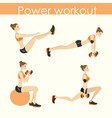 set- young pretty woman doing power workout vector image vector image