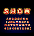 show font glowing lamp letters retro alphabet vector image vector image
