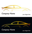silhouette of a yellow car vector image vector image