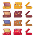 suitcases with memory cards symbols countries vector image
