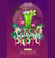 summer beach party disco poster with cocktail vector image vector image