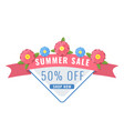 summer sale banner with garden flowers in coral vector image vector image