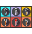 Thermometer icon set High temperature symbol vector image vector image