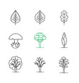 trees linear icons set vector image