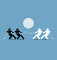tug of war artwork depicts power struggle vector image vector image