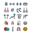 weightlifting flat thin lines icons set vector image