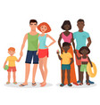 white and african black family on summer vacation vector image vector image