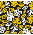 yellow and black flowers repeatable motif vector image