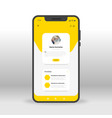yellow portfolio page ui ux gui screen for mobile vector image vector image