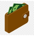 Wallet and money isometric 3d icon vector image