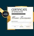 gold and black label elegance certificate vector image