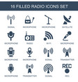 16 radio icons vector image vector image