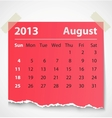 2013 calendar august colorful torn paper vector image vector image