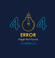 404 error page not found lamp broken graphic vector image vector image