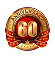 60 anniversary golden label with ribbon vector image vector image