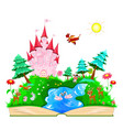 book with a pink castle and animals vector image vector image
