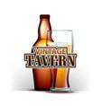 bottle and glass of beer vintage tavern vector image