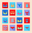 bra icon set flat of bras and pants vector image vector image