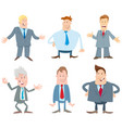 businessmen cartoon characters collection vector image vector image