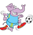 Cartoon Soccer Elephant vector image vector image
