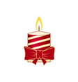Christmas Candle Isolated on White Background vector image