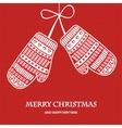 Christmas mittens on red knitted background vector image