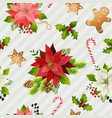 christmas winter poinsettia flowers seamless vector image vector image