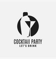 cocktail shaker with cocktail martini glass logo vector image vector image