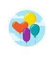 colorful cartoon bunch of balloons happy birthday vector image vector image