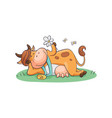 cute and funny cartoon farm cow with a bell and vector image vector image