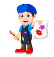 cute boy painting with paintbrush vector image