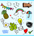 cute hand drawn doodle set with various children vector image vector image