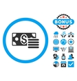 Dollar Cash Flat Icon with Bonus vector image vector image