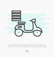 fast food delivery by motorbike thin line icon vector image