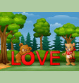 funny two bear on the red word love on the nature vector image vector image