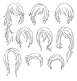 Hair styling for woman drawing Set 1 vector image vector image
