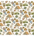 Hand drawn pattern with camping travel vector image vector image