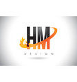 hm h m letter logo with fire flames design vector image vector image