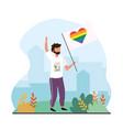 man with heart rainbow flag to lgtb celebration vector image vector image